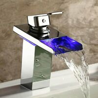 LED Chrome Bathroom Sink Faucet Waterfall Single Handle Vanity Basin Mixer Tap