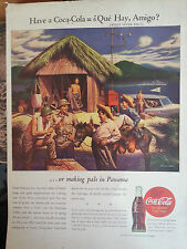 1944 Coca Cola Military Boy Burrow Amigo in Panama Grass Hut Original Print Ad