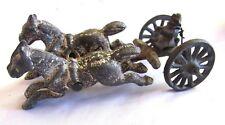 Antique Cast Iron 2 Horses + Buggy Wagon Toy