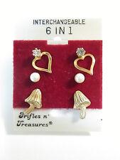 Trifles N Treasures 6 in 1 Interchangeable Stud Post Earrings (3 pairs on card)