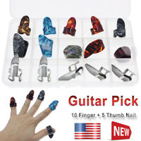 5 Thumb +10 Finger Nail Guitar Picks Plectrum Colorful Set for Guitar Bass Banjo