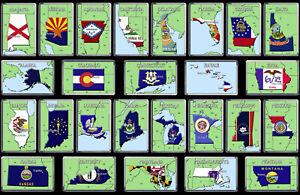 US (USA) STATES (A-M) Flag Map Fridge Magnets