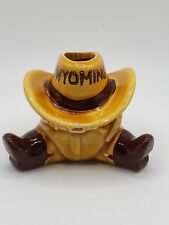 Vtg Wyoming Souvenir Cowboy Hat Boots Ceramic Toothpick Holder Airplant Kitschy