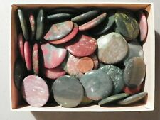 Agate and or Jasper 6 of around 38 MM. Round Cab Cabochon Mostly green and red