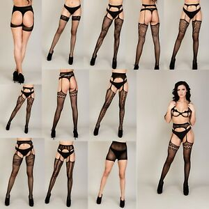 Crotchless Suspender Tights Sheer Lace Fishnet Open Crotch stockings Garter Belt