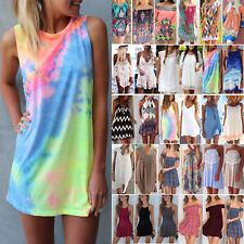 Womens Summer Boho Short Mini Dress Beachwear Bikini Cover Up Swimwear Sundress