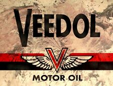 """TIN SIGN """"Veedol"""" Gas Oil  Signs  Rustic Wall Decor"""