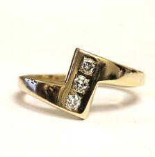 14k yellow gold .15ct VS1 G round diamond ring 3.8g estate vintage ladies womens