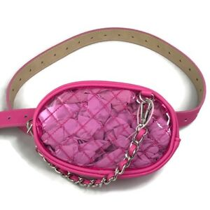 Steve Madden Womens Pink Clear Quilted Fanny Pack Adjustable Strap Zipper XL New