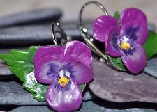 Pansy Earrings, Handmade Polymer Clay, Spring, Summer Flowers, Nature, Wedding