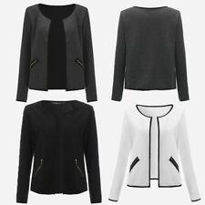 Womens Ladies Girls Waterfall Style Office Blazer Suit Jacket Top Plus Size 8-24