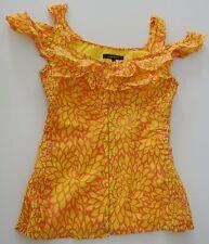 Chic Yellow Orange NANETTE LEPORE Off Shoulder Cotton/Silk Top, Sz 0