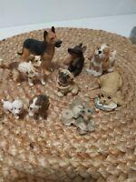 Lot of Small Dog Figurines Poodle Bulldog German Shepherd