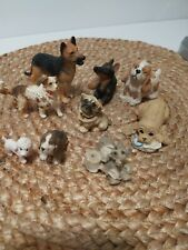 Lot of Small Dog Figurines Poodle Bulldog German Shepherd