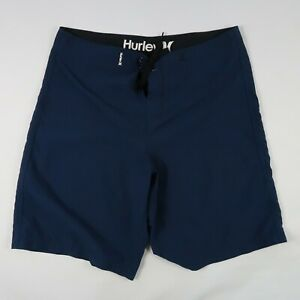 Hurley Mens Polyester Solid Navy Blue Swim Trunk Shorts Size 36