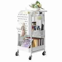 Storage Trolley,  3-Tier Rolling Cart, Utility Cart Metal Shelving with White
