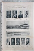 1914 TIMES OF INDIA WW1 PRINT KING GEORGE BATTLE CRUISER M POINCARE THE TSAR