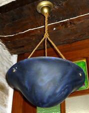 Beau LUSTRE avec Jolie COUPELLE Vasque bleue 1980 Suspension Lampe