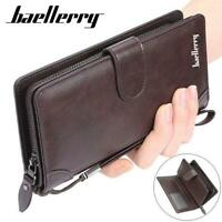 Men Business High Capacity Leather Wallet Credit Card ID Holder Zipper Purse