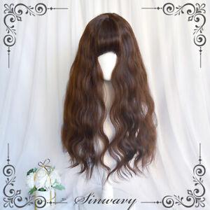 Lolita Harajuku Sweet Cosplay Women's Curly Hair Girls Daily Wigs 65cm Brown