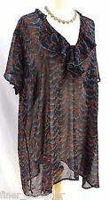 Motherhood Maternity geo shirt ruffle neck blouse light S/S semi sheer Plus 2X