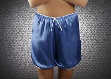 Vintage Retro 14-16 Directoire Knickers Silky Bloomers Long Leg Panties Blue