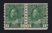 Canada Sc #125iv (1912) 1c yellow green Admiral Coil Pair Mint VF NH