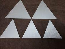 "( 5 ) Triangle, Silver REFLECTIVE STRIPS  (2) 8""X9-1/4""  &  (3) 5-1/4""X61/2"""