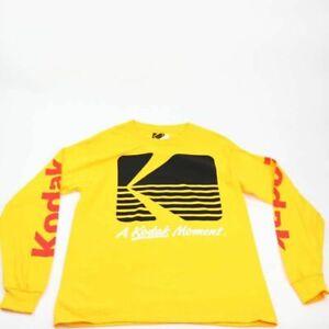 A Kodak Moment Mens Graphic T-Shirt Yellow Black Long Sleeve 100% Cotton 2XL New