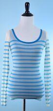 JEAN PAUL GAULTIER $595 NWT SOLEIL Blue White Long Sleeve Nylon Stripe Top S