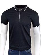 Armani Exchange Authentic Signature Zip Logo Polo Shirt Black NWT