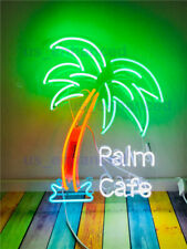 New Palm Cafe Tree Open Neon Sign Acrylic Gift Light Lamp Bar Wall Room 20""