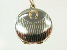 Schönes Tulasilber Niello Medaillon Silber und Gold fein verziert Handarb. 1900