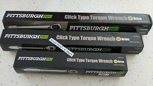 Set of 3- 1/4, 3/8, 1/2 Drive Click Type Torque Wrench Snap Socket, Reversible
