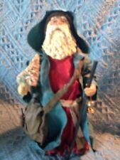 VNTG CLOTHTIQUE POSSIBLE CHRISTMAS PAPER MACHE/RESIN OLD WORLD SANTA W/BAG&TREE