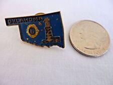 Vintage OKLAHOMA LIONS CLUBS PIN State Outline; Oil Derrick; Blue & Gold enamel