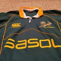 EUC South Africa SA Rugby Mens Sasol Canterbury XL Green Jersey Shirt