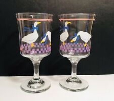 Vintage Libbey Country Geese & Hearts Stemware Set Of 2