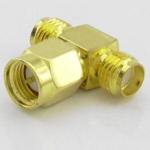 SMA T Piece Adaptor Male Plug to 2 x Female Jack Socket, RF Splitter Adaptor