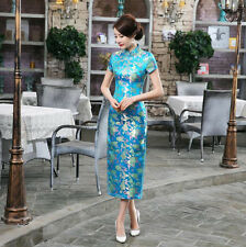 New Luxurious Summer Flowers Blue Chinese Long Dress Cheongsam Qipao lcdress19