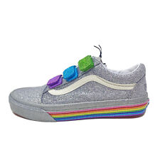 Vans Old Skool V Flour Shop Women's 9 Glitter Rainbow New Shoes Silver Red Blue