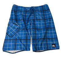 "Quiksilver Mens Board Shorts Blue Black Plaid Print Size 33 Waist 11"" Inseam GUC"