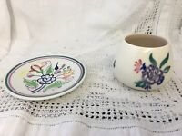 Vintage Pair Of Poole Pottery Pieces Vase and Small Dish