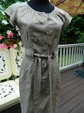 Generra Silk & Cotton Khaki Tan Safari Style Casual Dress Size xs (2-4)