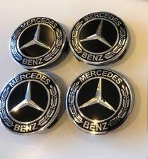 4x Mercedes Benz Alloy Wheel Centre Caps 75mm Badges BLACK Hub Emblem - Fits All