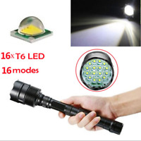 Tactical 90000LM T6 LED Super Bright Light Flashlight Outdoor Hiking Torch Lamp