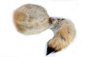 Coyote Tail Davey Crockett Coonskin Cap Real Tail Fur Coon Daniel Boone Hat Skin