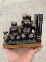 Vintage Red Ware BLACK POODLE Standard & Miniature Statue Bookend UNIQUE ❤️sj7m