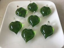 Beautiful  7pcs green glass hearts 33 mm