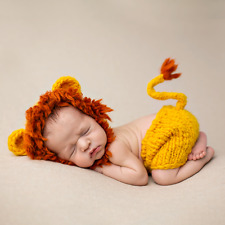 Newborn Baby Girl Boy Lion Hat Set Crochet Knit Costume Photo Photography Props
